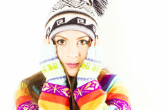 Zdziwiona zimy kobieta Zdjęcia Royalty Free
