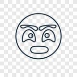 Zdziwionego pojęcia wektorowa liniowa ikona odizolowywająca na przejrzystym bac royalty ilustracja