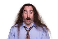 Zdziwiony długi z włosami Man2 obraz royalty free