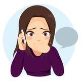 Zdziwiony dziewczyna telefon ilustracja wektor