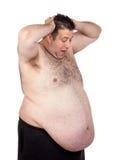 Zdziwiony gruby mężczyzna Fotografia Royalty Free