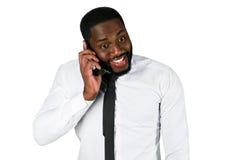 Zdziwiony mężczyzna na telefonie Fotografia Royalty Free