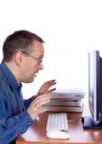 Zdziwiony komputerowy facet Zdjęcie Stock