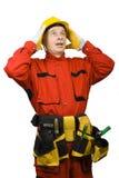 Zdziwiony pracownik budowlany Fotografia Stock