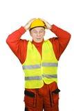 Zdziwiony pracownik budowlany Obrazy Stock
