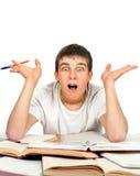 Zdziwiony uczeń z książki Obraz Stock