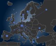 Ześrodkowywająca Europe mapa Zdjęcia Royalty Free
