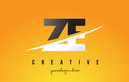 ZE Z E Letter Modern Logo Design with Yellow Background and Swoo Royalty Free Stock Photography