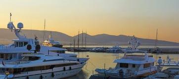 Zea Marina, Piraeus. Luxurious yachts moored at Zea marina, Piraeus - Greece stock images