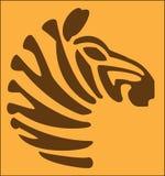 ZEBRА ANIMAL ON THE ORANGE BACKGROUND. Stylized abstract image of an animal zebra on an orange background Vector Illustration