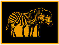Zebra. An image of two zebras with black and orange in the skin areas on a black background with an orange frame around in the style of lino cut Stock Photography