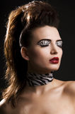 Zebra. Close-up portrait of young woman with zebra make-up Royalty Free Stock Photos