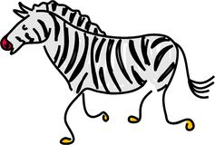 Zebra. A zebra isolated on white drawn in toddler art style Royalty Free Stock Photos