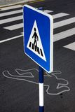 Zebra. Pedestrian sign next to a running over local scene.Simulated situation royalty free stock images