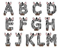 Zebra A ajustado alfabeto a M Imagens de Stock