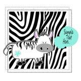 Zebra animal  cute baby cartoon illustration africa art character Stock Photos