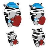 Zebra baby cartoon heart set Stock Photo