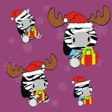 Zebra baby cartoon xmas set Royalty Free Stock Images