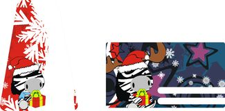 Zebra baby claus cartoon xmas giftcard Stock Image