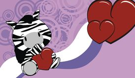 Zebra baby love cartoon background Stock Image