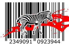 Zebra barcode animal design art idea. I am a traditional artist. This is digital painting and 3d software compilation. This is my own idea Stock Images