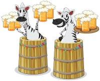 Zebra with beer jar. Illustration of two zebras with beer jar Stock Images