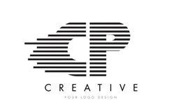 Zebra-Buchstabe Logo Design CPs C P mit Schwarzweiss-Streifen Stockfotografie