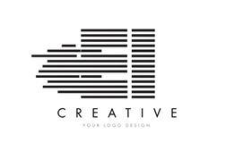Zebra-Buchstabe Logo Design E-I E-I mit Schwarzweiss-Streifen Stockfoto