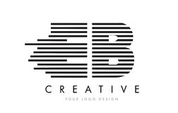 Zebra-Buchstabe Logo Design EB E B mit Schwarzweiss-Streifen Lizenzfreie Stockbilder