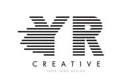 Zebra-Buchstabe Logo Design Jahres Y R mit Schwarzweiss-Streifen Stockbild