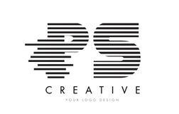 Zebra-Buchstabe Logo Design PS P S mit Schwarzweiss-Streifen Lizenzfreies Stockbild