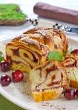 Zebra cake with cherries. Delicious Zebra cake with cherries Stock Photos