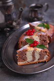 Zebra cake decorated with berries. Zebra cake traditional Soviet pastries royalty free stock photos