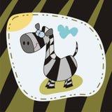 Zebra card. Greeting card with cute zebra Stock Photography