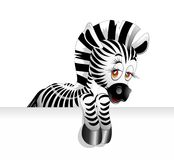 Zebra Cartoon. A cute Little Cartoon Zebra Background Stock Photos