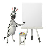Zebra cartoon character with easel board. 3d rendered illustration of Zebra cartoon character with easel board Stock Photography