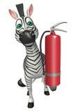Zebra cartoon character  with fire extinguishing. 3d rendered illustration of Zebra cartoon character with fire extinguishing Royalty Free Stock Images