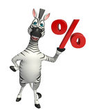 Zebra cartoon character with % sign Royalty Free Stock Photography