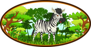 Zebra cartoon with forest background Stock Photography