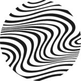Zebra in circle. White and black patern, lines wire Stock Photography