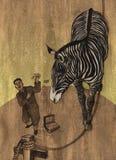 Zebra in circo Fotografia Stock