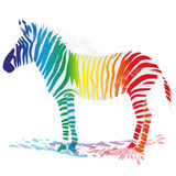 Zebra with colored stripes. And creativity Stock Photo