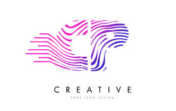 Zebra CPs C P zeichnet Buchstaben Logo Design mit magentaroten Farben Lizenzfreie Stockfotos