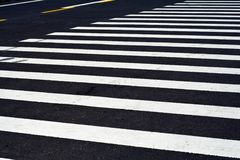 Zebra crossing. On new maintained asphalt road Royalty Free Stock Images