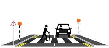 Zebra crossing. Old man slowly walking across a zebra crossing Stock Illustration