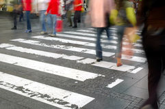 Zebra crossing. Walking home. City pavement with walkers Royalty Free Stock Photo