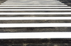 Zebra crossing. The white crosswalk lines on the streets royalty free stock photos