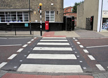 Zebra Crossing. A Pedestrian crossing giving safe passage across the busy high street in Chester le Street, County Durham, England Royalty Free Stock Photo