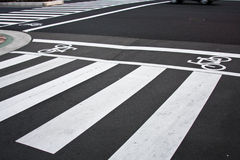 Zebra crossing. Traffic sign for pedestrian and for bicycle Stock Photo