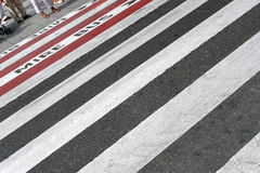 Zebra crossing. City people walking on big city street Stock Photography